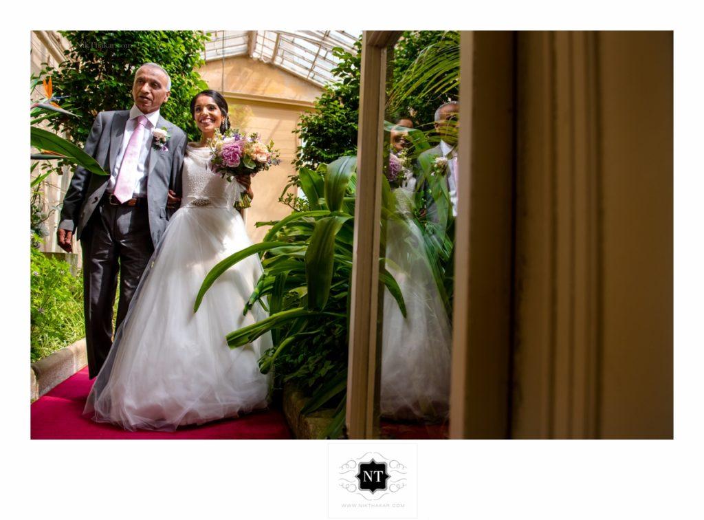 Bride's entrance at civil wedding day.